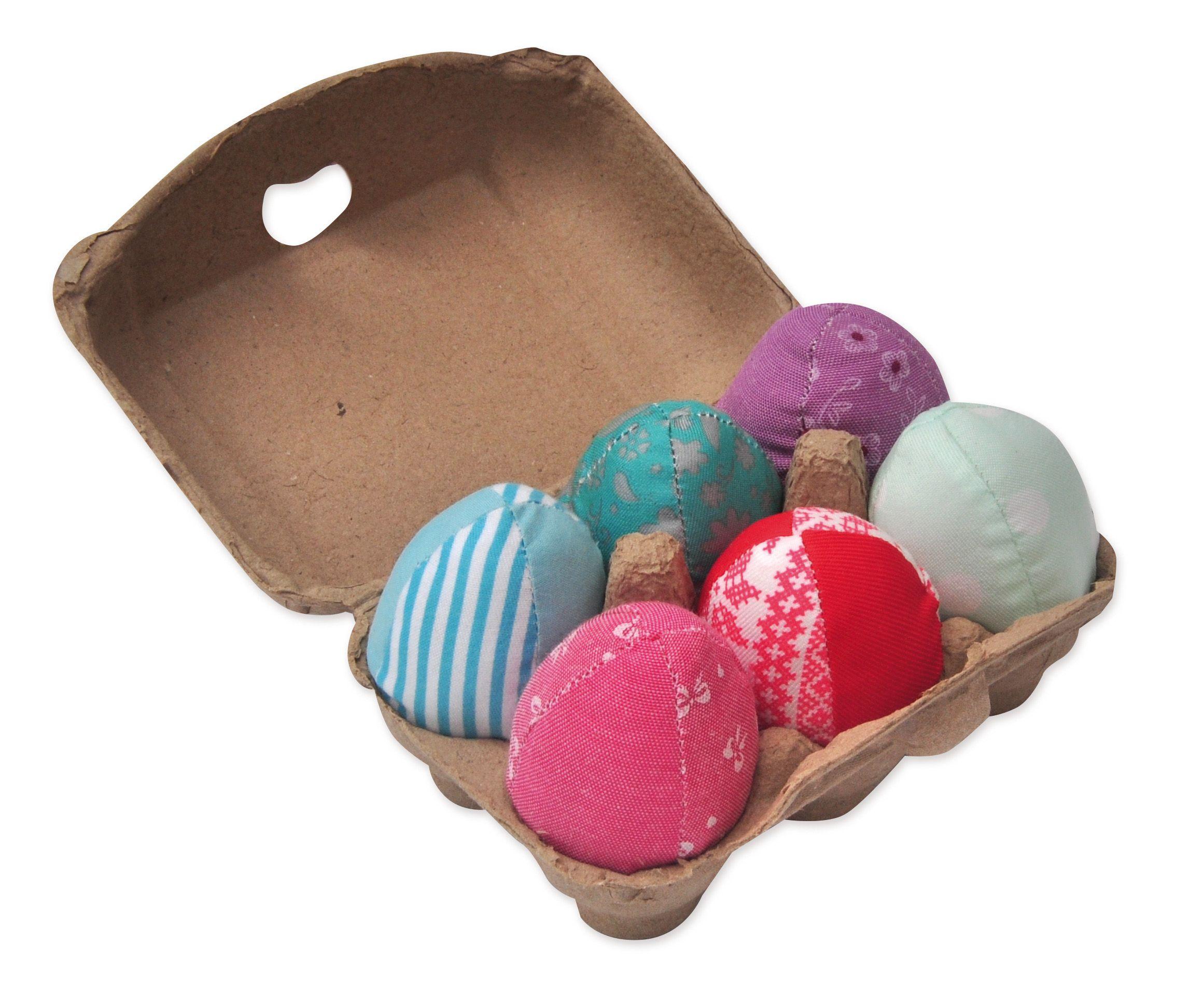 Aumüller 6 Ostereier/Spieleeier gefüllt mit Katzenminze und Silver Vine, mit 4farbiger Banderole