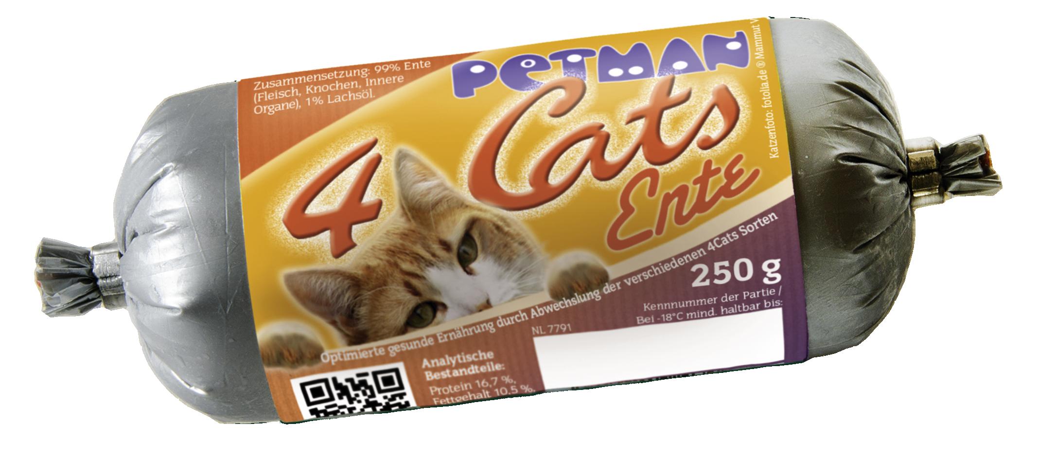 Petman 4Cats Ente Wurst 250g