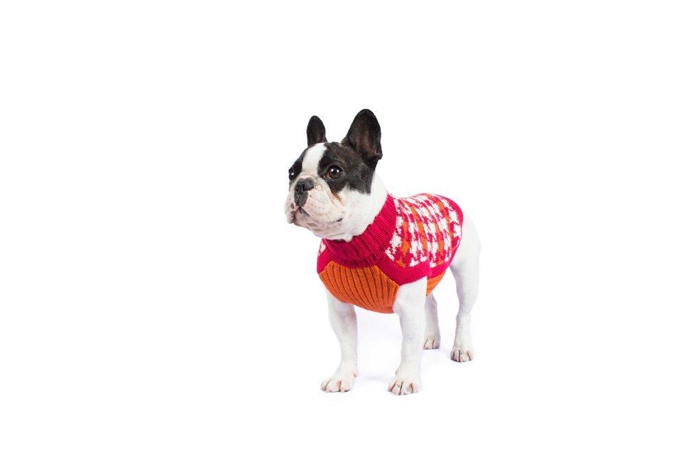 Alqo Wasi Hunde-Pullover Pied de Poule Fuchsia - XS