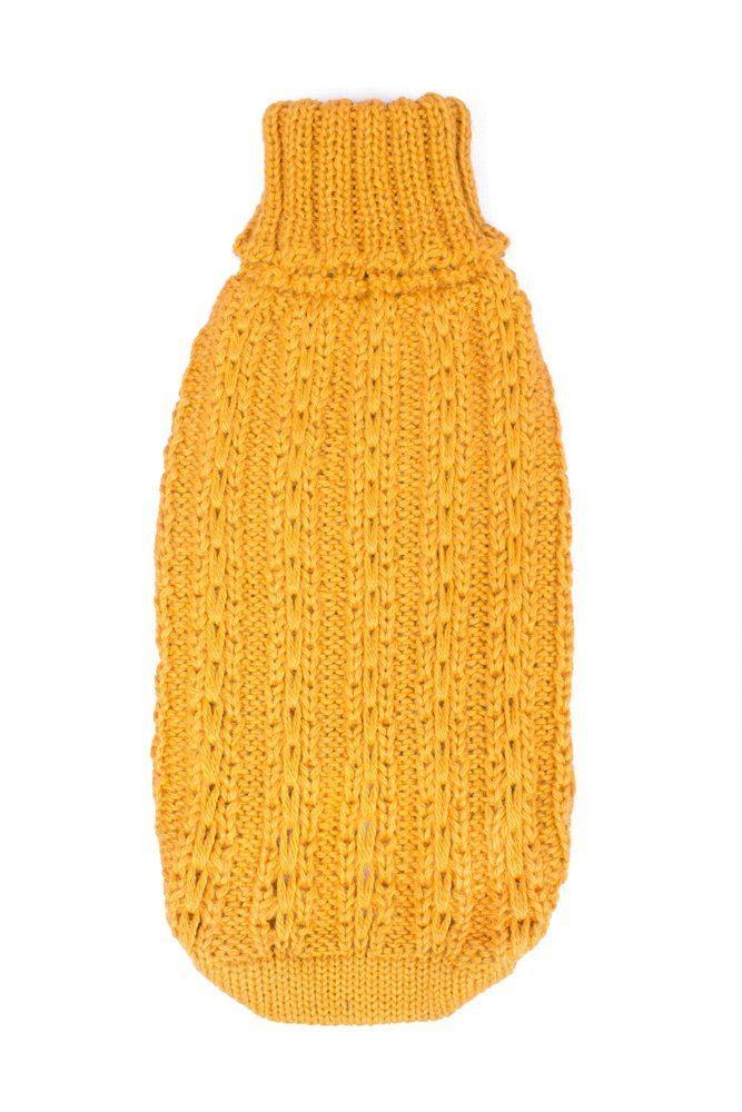 Alqo Wasi Hunde-Pullover Bohemian Cable Knit - Mustard