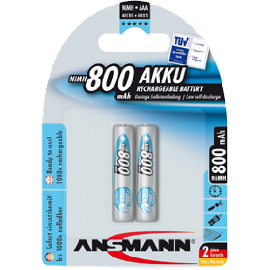 Akku- Ladegerät für LEUCHTIE Premium, inkl. 2 Akkus NiMH, Typ AAA