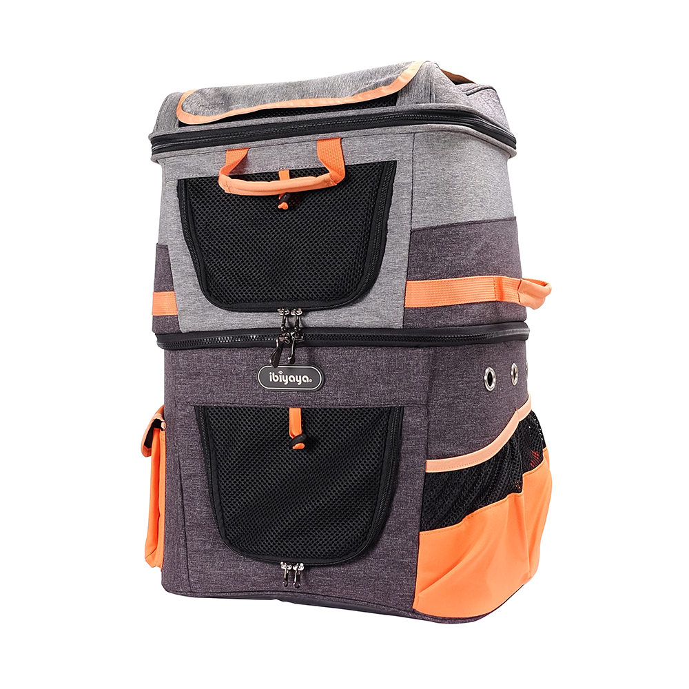 Ibiyaya® Hunderucksack Two Tier Backpack orange